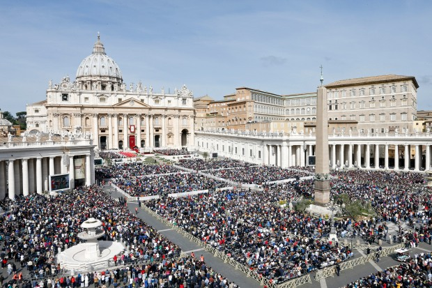 Pope Francis leads the Palm Sunday mass at Saint Peter's Square in the Vatican