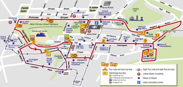Edinburgh City Sightseeing Map