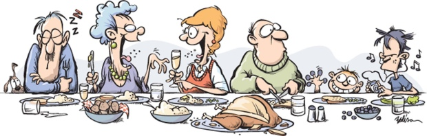 When you are still trying to score points with your girlfriends' family, there are certain rules for surviving the holiday visits. (Tim Bedison/Fort Worth Star-Telegram/MCT) KEYWORDS: krtthanks thanskgiving day conversation illustration table etiquette talking party ipod teen kids turkey dinner cartoon 10000000, krtfeatures features, krtlifestyle lifestyle, krtnational national, leisure, LIF, 10003000, 10011000, FEA, gastronomy, krtfood food, krtholiday holiday, LEI, public holiday, 14006000, krtfamily family, krtsocialissue social issue, SOI, 2007, krt2007, krt, mctillustration, ft contributed, ft contributor coddington bedison mct mct2007